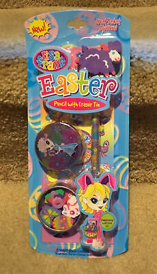 Lisa Frank Easter Pencil with Eraser Tin - New