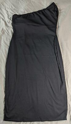 Boohoo Women's Jumbo Rib Bardot Midi Dress DD5 Black Plus Size US:18 UK:22 NWT
