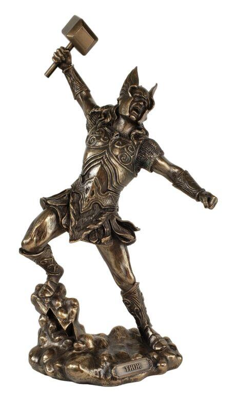 """12"""" Thor W Hammer Viking Norse Mythology God of Thunder Statue Bronze Color"""
