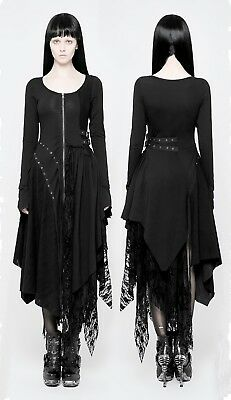 Punk Rave Gothic Hexe Witch Nugoth Kleid Spitze Goddess Göttin Dress (Rave Dress)