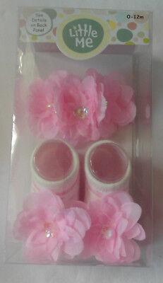 Little Me - Fancy Flower Headwrap & Booties Gift Set for 0-12 Months