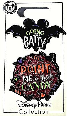 Disney Store Going Batty Point Me to the Candy Halloween 2019 2 Disney Pins Set.