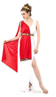 Römer-Göttin-Kostüm für Damen weiss-rot-goldfarben Cod.173931