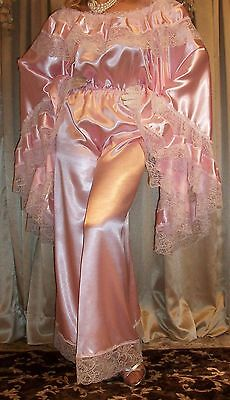 Vtg New Pink Sweep Satin Palazzo Pants Lace Slip Jumpsuit Nightgown 1X 2X 44 46