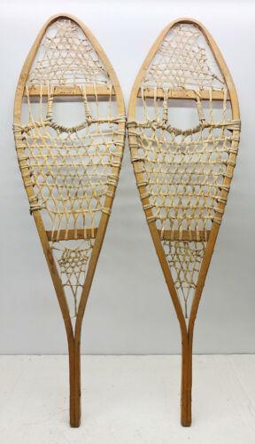 "Antique Vintage 14"" X 48"" HURONS GROS-LOUIS Snowshoes For Decor or Arts & Craft"
