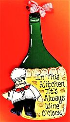 FAT CHEF Wine O'Clock SIGN Kitchen Cucina Bistro Wall Art Hanging Plaque Decor