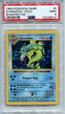 PSA 9 MINT Shadowless Base Set Gyarados Holo #6 Pokemon Card TCG