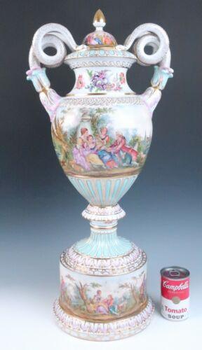 "Huge 27.5"" 70cm Dresden Porcelain Urn HP Courting Couples Snake Handles Teichert"