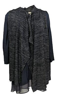LOGO by Lori Goldstein Women's Plus Sz Top 2X Knit Vest Twin Set Blue A269657 Vest Twin Set