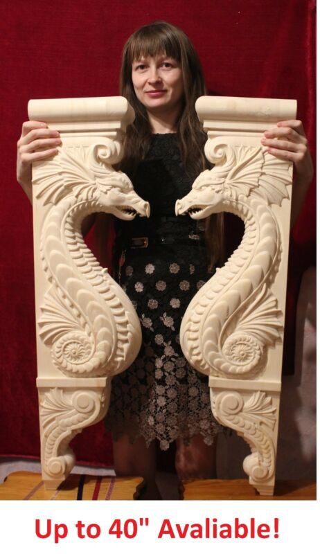 "20"" Dragon Corbel, Wooden Corbel, Rustic Corbel, Fireplace Surround, dragon art"