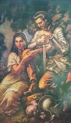 Traditional Mexican Calendar Art Jesus Helguera conquistador with aztec girl