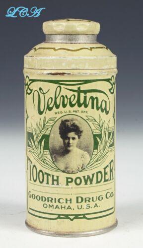 Antique GOODRICH DRUG Co Velvetina TOOTH POWDER tin OMAHA NEBRASKA w/pic GIRL