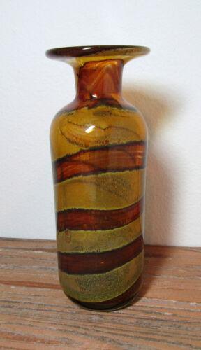 vintage Mdina art glass vase mcm signed free US ship
