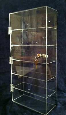 """Acrylic Counter TOP Display Case or Wall Mount 10"""" x 4.5"""" x 22"""" Locking Security"""