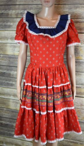 Vintage Rockmount Ranch Wear Dress USA Full Circle Square Dance Small/Med