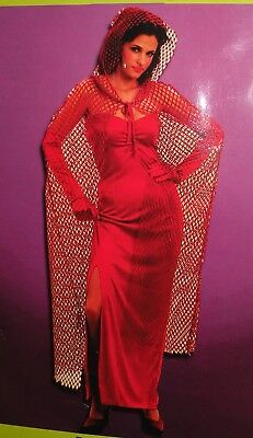 Sexy Long Red Mesh Cape with Hood Halloween Costume One Size Boo!Ville](Red Cape With Hood)