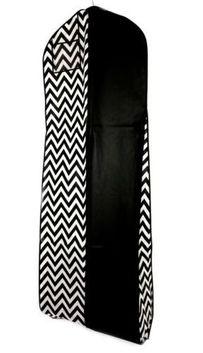"Black Chevron Garment Bag - Extra Long - 24"" x 72"" x 10"" Gusset"