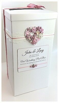 Personalised Wedding Post Box Vintage Lace and Floral Heart Various Colours
