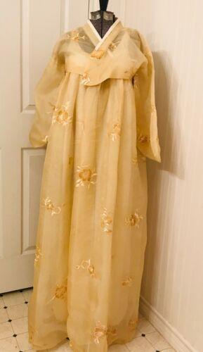 Vintage 1960s Korean Asian Hanbok Kimono pale yellow or cream Jeogori Chima XS