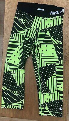 Nike Pro Dri-Fit Capri Leggings Black Yellow Running UK Size XS
