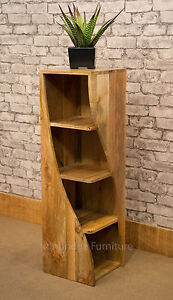MANTIS SOLID NATURAL MANGO WOOD TWISTED BOOKCASE CD DVD STORAGE 110cmH - TW29