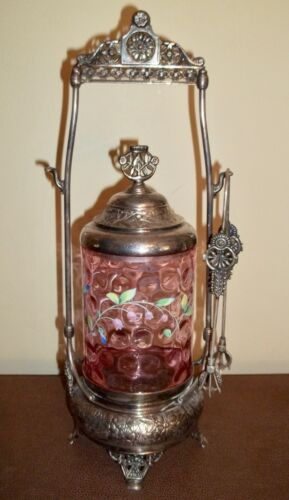 Antique Pickle Castor Simpson Hall Miller SP with Cranberry Art Glass Insert