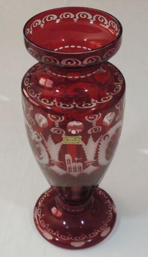 "Egermann Czech Republic Bohemian Ruby Red Cut To Clear 12 1/8"" Crystal Vase EUC"