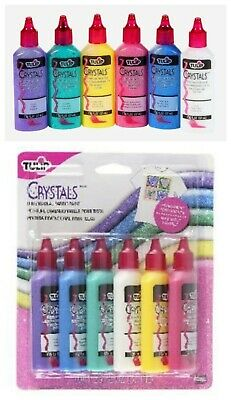 Tulip Crystals Dimensional Fabric Paint Permanent & Washable 6 x 37ml Bottles Crystal Tulip Dimensional Fabric Paint