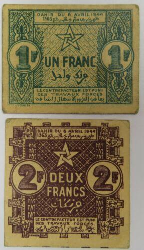 1944 Morocco Banknote Tickets Empire Cherifien Francs P-42 P-43 Item #22054F