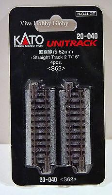 "Kato 20040 N Gauge Unitrack 2-7/16"" (62mm) Straight Track 4pcs. S62. New"