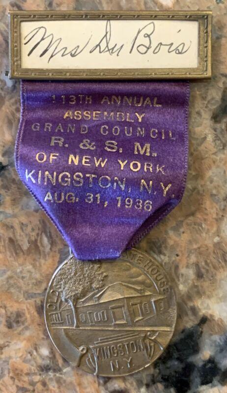 """1936 Mason Royal & Select Elders R.& S. M. Kingston, N.Y. Badge 3.75"""" Hers"""