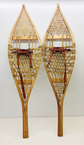 """Rare Old Antique Vintage 13"""" X 49"""" Snowshoes Usable or Decor FREE SHIPPING"""