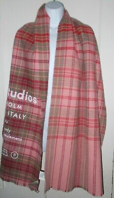Brand New Acne Studios Oversized Cassiar Check 100% Wool SCARF Tan & Pale Pink