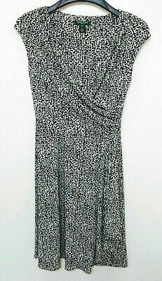 LAUREN RALPH LAUREN Black White Print V Neckline Faux Wrap Dress Size 6
