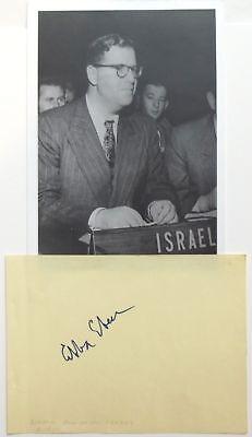 Abba Eban Israeli Deputy Prime Minister Diplomat & Politician Autograph