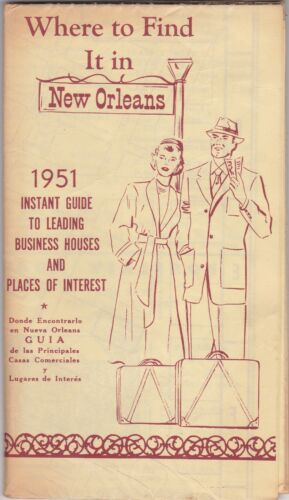 1951 New Orleans Business Directory & City Street Map Brochure
