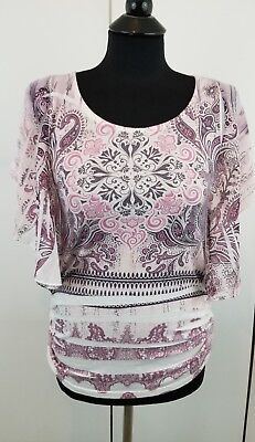 (ESPRESSO Women/Junior Pink Floral/Paisley Angel Sleeves Top Blouse Size S)