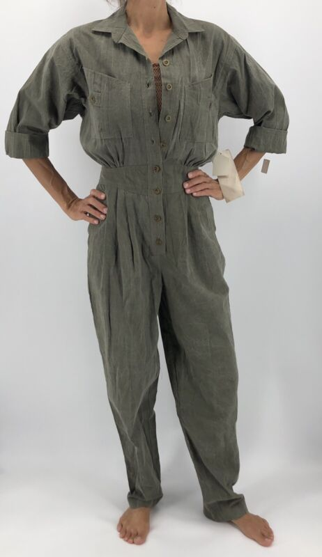 Smokey Row Vintage 80s Green Jumpsuit Fitted Roll Up Sleeve Size 10 SM