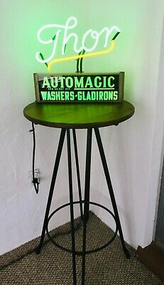 Vintage 1948 Neon Sign Thor Automatic Washers - Gladirons Advertising Sign Rare