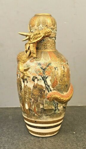Rare Japanese Meiji Satsuma Vase with Dragon, Signed