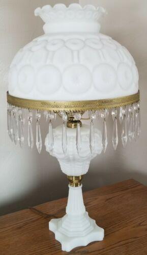 Milk Satin Glass Moon & Star Table Lamp - electric - LG Wright - Original USA