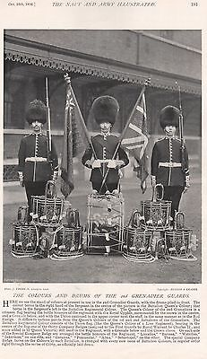 1896 MILITARY PRINT : COLOURS AND DRUMS OF THE 2nd GRENADIER GUARDS