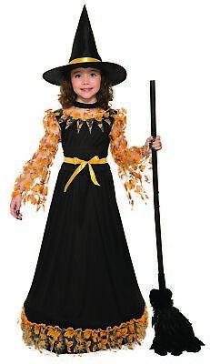 Pretty Autumn Witch Child Girls Halloween Costume Fall Leaves Dress & Hat - Girls Pretty Witch Kostüm