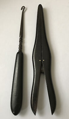 Antique Edwardian Button Hook & Pair of Glove Stretchers, Real Ebony, C 1910