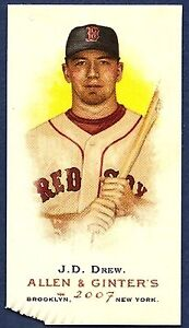 2007 Allen & Ginter's J.D. JD DREW Bazooka Back Mini 03/25 Error SP Red Sox