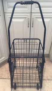 4 wheel all-purpose Utility Cart Grocery, Laundry Tote  -  Black