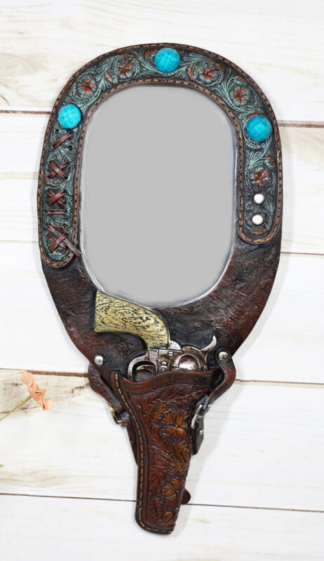 Rustic Western Cowboy Turquoise Tooled Floral Pistol Gun In Holster Hand Mirror