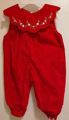 Vintage Xmas Baby Girl Tiny Tot Original Red Velvety Jumper Pants 3-6 mo EUC