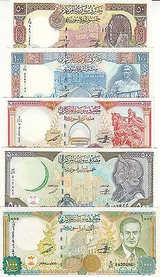 SYRIA 50 100 200 500 1000 LIRA POUNDS 1997 1998 P-107 108 109 110 111 UNC SET