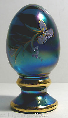 Fenton Art Glass signed Limited Edition mini-egg (Iridescent Blue)